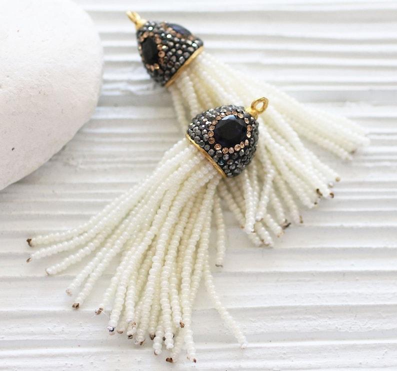 Beaded tassel with lapis gemstone cap glass bead paved tassel neckalce tassel wedding earrings tassel ivory beaded tassel pendant