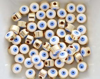 5pc, 7mm white evil eye beads, round evil eye beads, DIY earrings beads, lucky beads, necklace, bracelet slider beads, spacer beads, EE7M