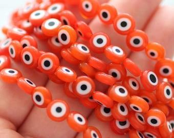 20pc-8mm orange evil eye beads, round evil eye beads, flat evil eye glass beads, necklace beads, lucky evil eye, DIY bracelet beads, EE8