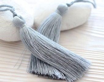 Light gray silk tassel, mala tassel, jewelry tassels, tassel, decorative tassels, long grey silk tassel, handmade keychain tassel, N12