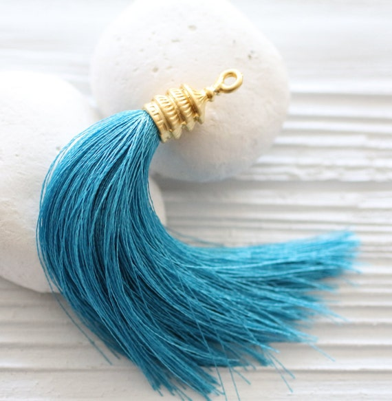 Turquoise silk tassel with gold tassel cap, tassel pendant, large long tassel, jewelry tassels, decorative, necklace tassel, aqua blue, N28
