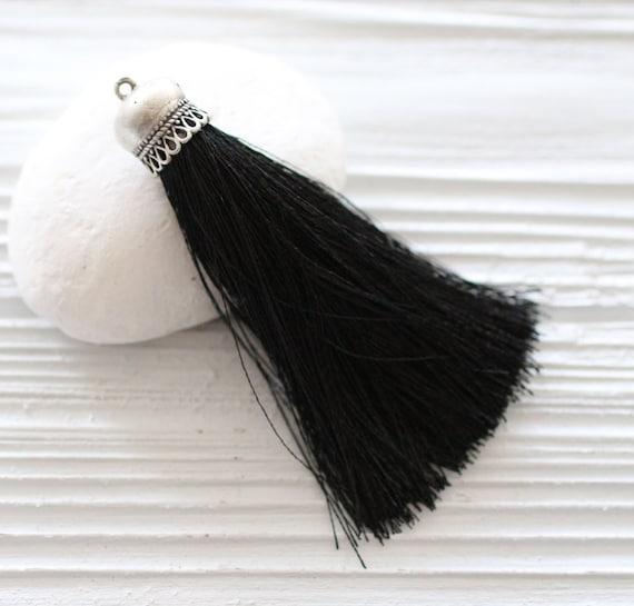 Black silk tassel, silver cap silk tassel, tassels for jewelry, silk necklace tassel, silk tassel pendant,black tassel,silk thread tassel,N8