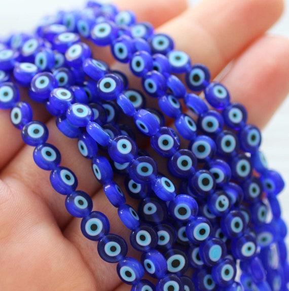 30pc-6mm tiny evil eye beads, flat glass beads, lamp work beads, navy blue, blue evil eye, glass beads, handmade, round glass beads, DIY,EE6