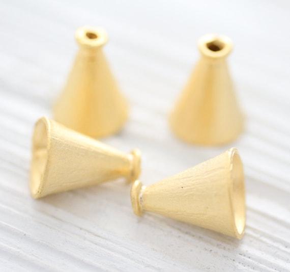 2pc gold tassel cap, large gold plain bead cones, end caps, gold bead caps, gold tribal tassel cap, matte gold, bead cones,rustic tassel cap