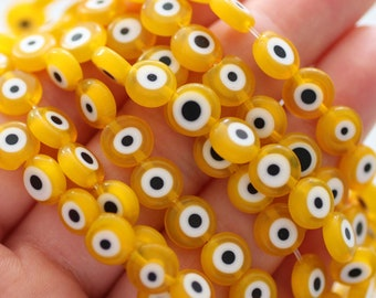 20pc-8mm yellow evil eye beads, lucky evil eye, DIY bracelet beads, round evil eye beads, flat evil eye glass beads, necklace beads, EE8