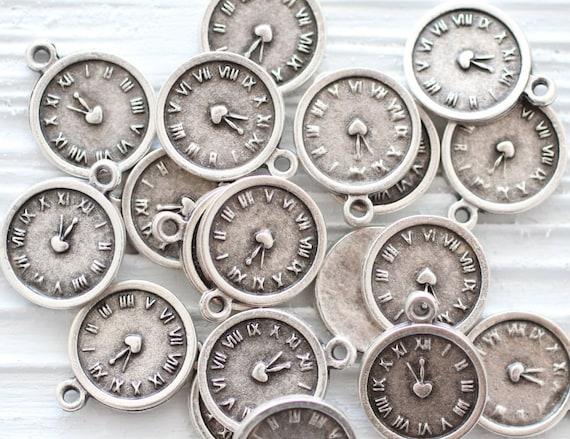 10pc silver clock charms, mini clock pendant, disc charms, rustic, round metal charms, mini silver charms, bracelet charms, earring charms