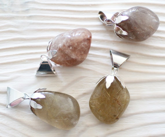 Quartz pendant, gemstone pendant, semi precious gemstones, silver bail quartz pendant, quartz stone, silver bail, gemstone charm