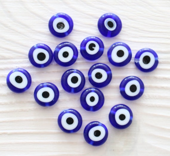15pc-10mm blue evil eye beads, flat glass beads, lamp work beads, navy blue evil eye bracelet beads, handmade, round glass beads, DIY, EE10