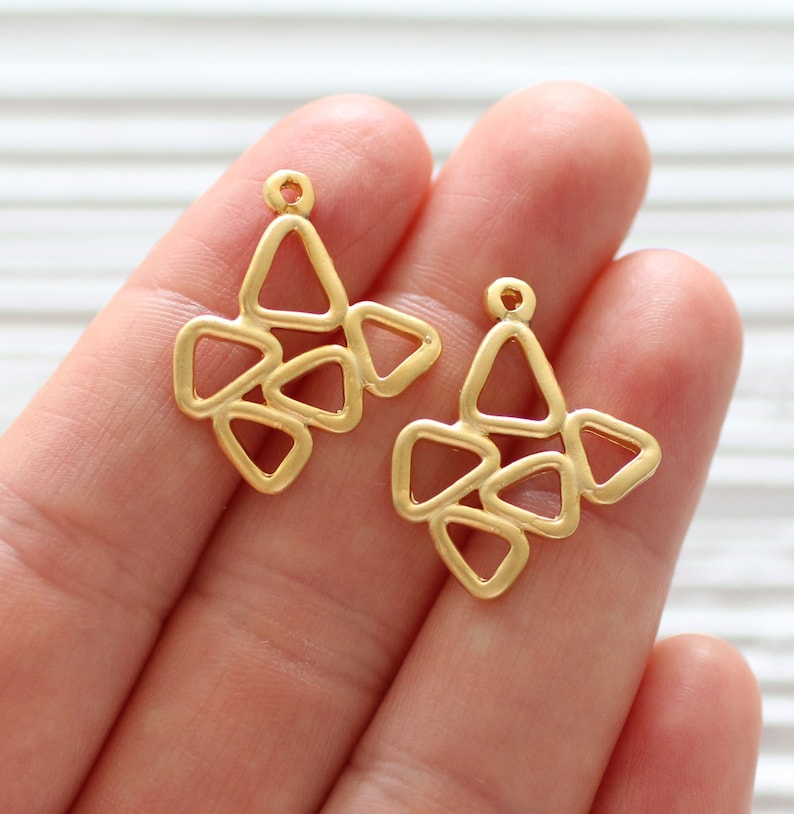 rustic earrings dangle 2pc large tribal charms gold multiple triangle charm geometrical necklace charms gold abstract charm pendant
