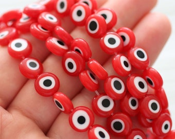 15pc-10mm red evil eye beads, red evil eye bracelet beads, flat glass beads, necklace beads, earrings beads, round glass beads, DIY, EE10