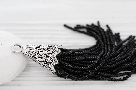 Black beaded tassel with large filigree silver cap, large bead tassel, handmade, black seed bead tassel, unique tassel pendant, black tassel