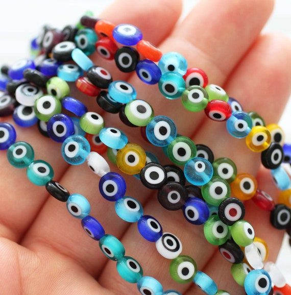 30pc-6mm evil eye beads, assorted mix color flat glass beads, lamp work beads, round evil eye, lucky evil eye bracelet beads, DIY, EE6