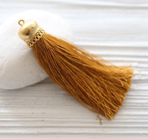 Golden yellow silk tassel with gold tassel cap, mustard silk tassel, thick silk tassel, yellow tassel,silk necklace tassel pendant, N29