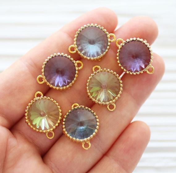Swarovski crystal connectors, swarovski charms, light blue swarovski jewelry earrings supply, necklace connector, swarovski pendant