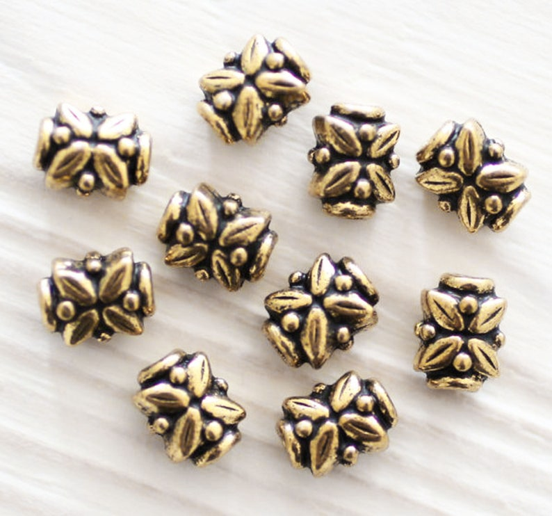 4pc antique bead spacers leaf beads gold beads tribal image 0