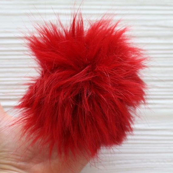 "Red faux fur pom pom, 5"" pom poms for hats keychains purses slippers curtains, beanie pom poms, fur pom pom, large pom poms, crimson, N19"