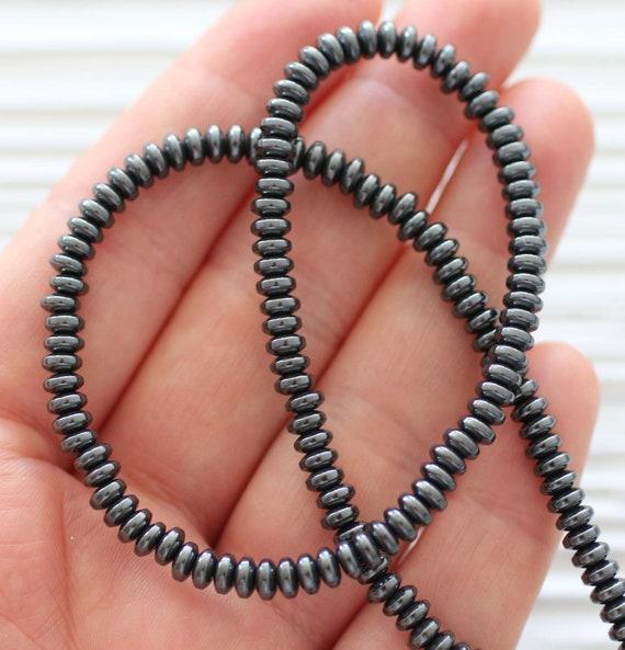 60pc metallic gray hematite beads, hematite rondelle beads, bracelet beads, round hematite heishi beads, bead spacer, hematite rondelle