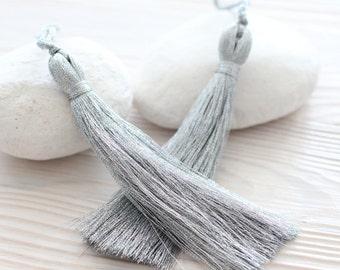 Metallic gray silk tassel, thread tassel, glittery shiny tassels, tassel, decorative tassels, large tassels, grey silk tassel, glitter, N11