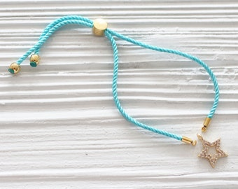 Adjustable aqua blue cord bracelet, DIY string bracelet blank, semi-ready bracelet with gold sliding stopper, blue friendship bracelet, N42