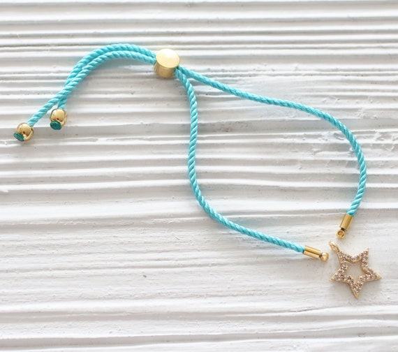 Adjustable aqua blue cord bracelet, DIY string bracelet blank, semi-ready bracelet with gold sliding stopper, blue friendship bracelet, N42