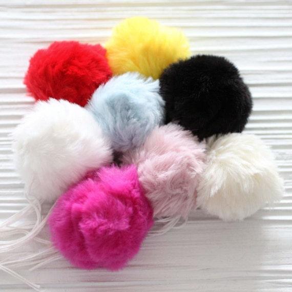 "Red pom pom, 2"" red garland pom pom, puff soft fur pom poms for beanie hats keychains bags shower nursery decor, crimson garland poms, N7"
