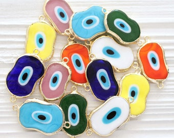 Abstract evil eye connector, navy blue, white, turquoise, green, large evil eye charms, lucky evil eye beads, necklace, bracelet connector