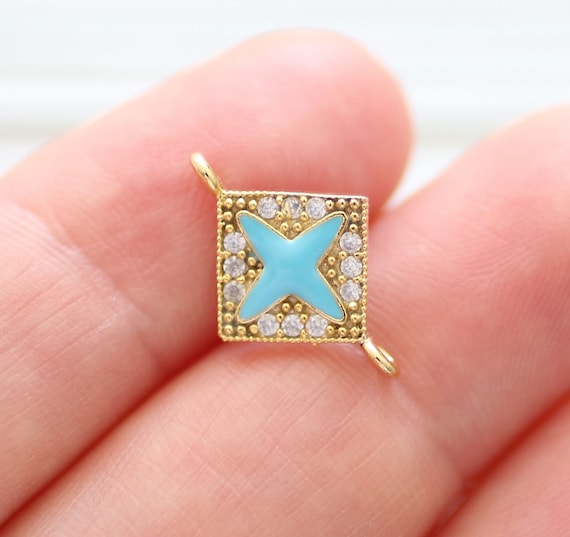 Square pave bracelet connector, gold pave charms, rhinestone pave jewelry findings, necklace pave beads, earrings dangle, necklace charm