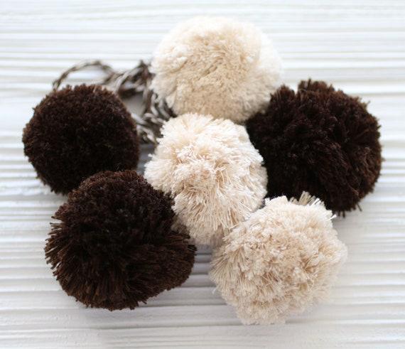 Brown beige pom pom purse charm, hanging decor, pom pom swag charm, pom pom curtain tie back, door knob decor, car charm, pom poms,bag charm