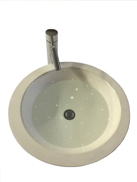 lighted fiber optic white bathroom vessel sink