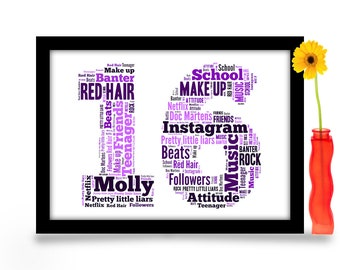 16th Birthday Gift Personalised Word Art A4 Gloss Print Age Number Created From Your Simple List Of Around 20 Words