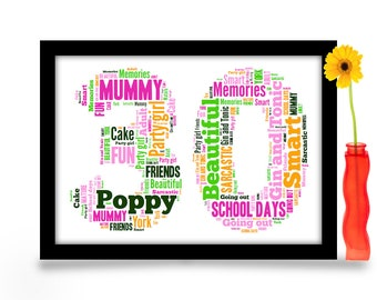 30th Birthday Gift Personalised Word Art A4 Gloss Print Age Number Created From Your Simple List Of Around 20 Words