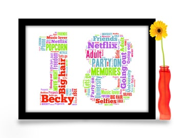 18th Birthday Gift Personalised Word Art A4 Gloss Print Age Number Created From Your Simple List Of Around 20 Words