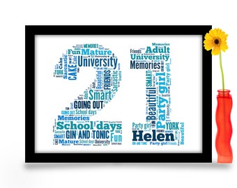 21st Birthday Gift Personalised Word Art A4 Gloss Print Age Number Created From Your Simple List Of Around 20 Words