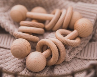 Organic Wooden Baby Rattle   Natural Beech Wood   Simple Minimalist Montessori Toy   Grasping    Eco Friendly