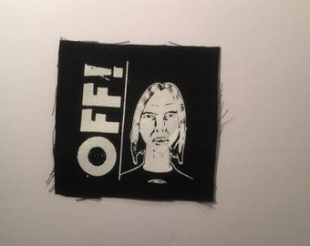 OFF! hand printed patch