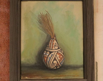 Clay Pot With Pines original oil painting with pottery