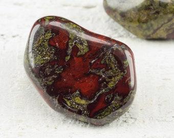 One Dragon Stone BLOODSTONE Tumbled Stone - M, L - Dragon Blood Jasper, Bloodstone Crystal, Healing Stone, Healing Crystal Blood Stone E0879