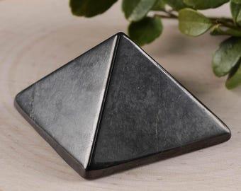 One SHUNGITE Pyramid - Sacred Geometry, Shungite Stone Pyramid, Grounding Stone, Root Chakra, Healing Crystal Pyramid, Healing Stone E0308
