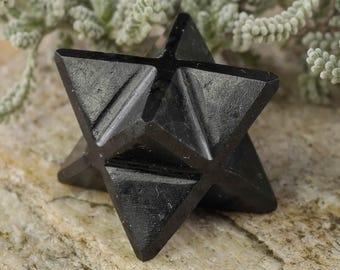 One BLACK TOURMALINE Crystal Merkaba - Crystal Merkaba Star, Grounding Stone, Black Tourmaline Stone, Black Tourmaline Jewelry E0233