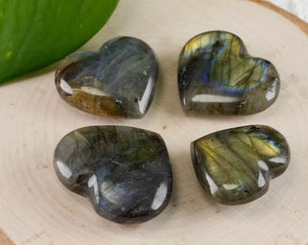 LABRADORITE Heart - Mini and Medium - Labradorite Stone, Healing Gemstone Heart, Chakra Crystal, Heart Stone, Heart Chakra Stone E0750