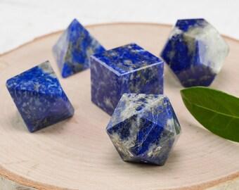 LAPIS LAZULI Platonic Solids 5 Piece Set - Sacred Geometry Lapis Lazuli Stone, Chakra Crystal, Lapis Lazuli Crystal, Healing Crystal E0966