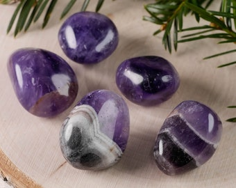 5 pieces Deep Purple CHEVRON AMETHYST Tumbled Stones - Amethyst Quartz Crystal, Tumbled Amethyst, Purple Amethyst, Crystal Healing E0857