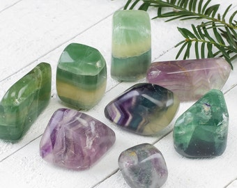 One Large FLUORITE Tumbled Stone - Fluorite Crystal, Blue Fluorite, Green Fluorite, Purple Fluorite, Healing Stone, Healing Crystal E0185