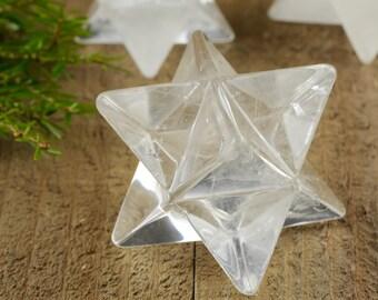 One QUARTZ Crystal Merkaba - S or L - Milky Clear Quartz Merkaba Crown Chakra Crystal Sacred Geometry Art Healing Crystal Merkaba Star E0877
