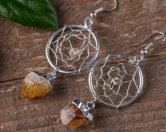 CITRINE Crystal Dream Catcher Earrings - Plated Silver Earrings Citrine Crystal Point Earrings, Citrine Earrings, Crystal Earrings E0546