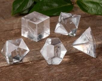 5 Piece Set QUARTZ CRYSTAL Platonic Solids - S or M - Sacred Geometry Quartz, Chakra Crystal, Meditation Crystal, Healing Crystal E0498