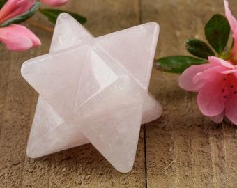 One ROSE QUARTZ Crystal Merkaba - S or M - Rose Quartz Merkaba, Heart Chakra Crystal, Sacred Geometry, Healing Crystal Merkaba Star E0878