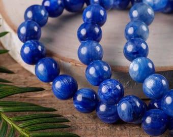 AAA BLUE KYANITE Power Bracelet - Blue Kyanite Jewelry, Blue Kyanite Stone, Kyanite Bracelet, Bead Bracelet, Kyanite Bead Bracelet E0570