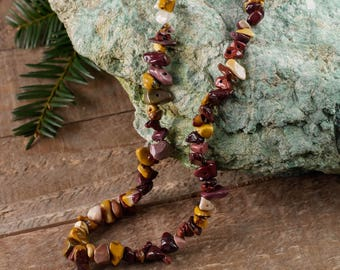 """34"""" MOOKAITE Chip Necklace - Mookaite Jewelry, Healing Crystal Necklace, Mookaite Jasper Stone Necklace, Mookaite Jasper Necklace E0791"""
