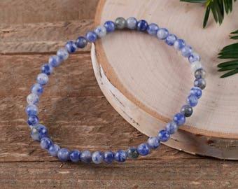 853147405d SODALITE Stretch Bracelet - 4mm Beads - Sodalite Bracelet